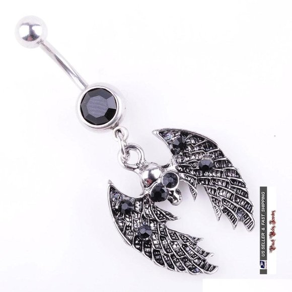 Jewelry - 3/$28 Skull & Wings Crystal Navel Ring
